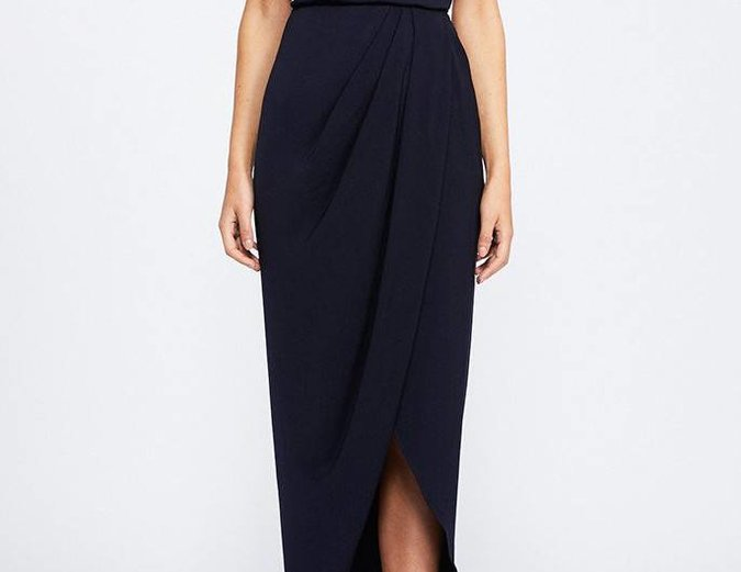 Shona Joy Lace Up Cowl Maxi Dress - Navy