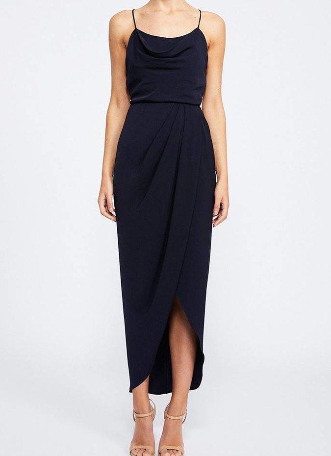 Shona Joy Lace Up Cowl Maxi Dress - Navy