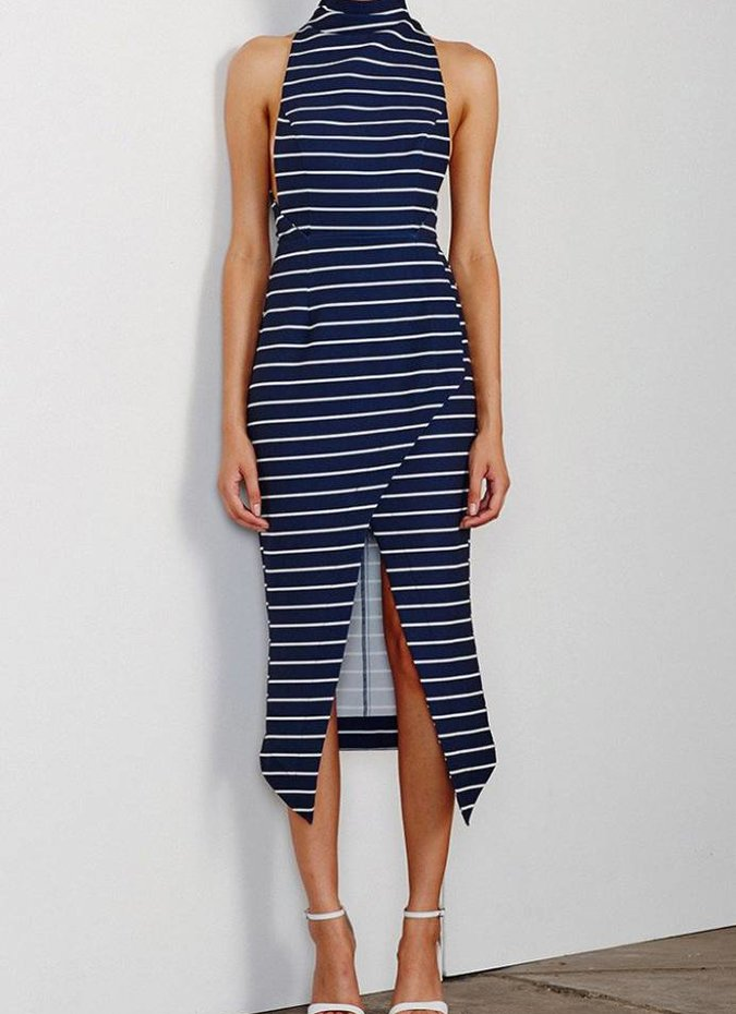 Shona Joy High Neck Midi Dress