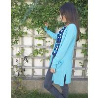 Jaba Long Cashmere Cardi - Turquoise