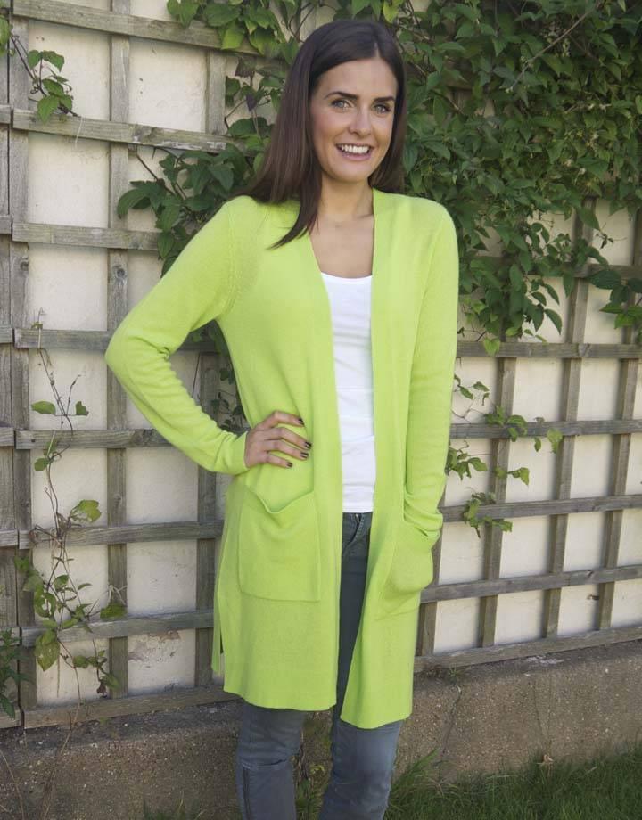 JABA Jaba Pure Cashmere Cardigan in Lime