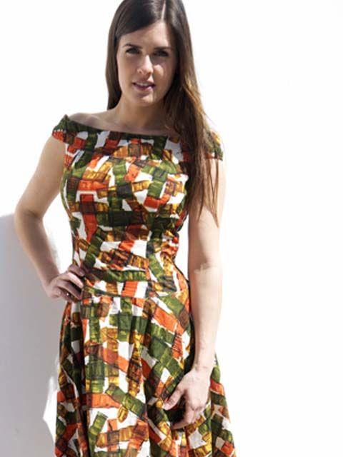 JABA JABA Lydia Dress - Falling Blocks - Orange/Green