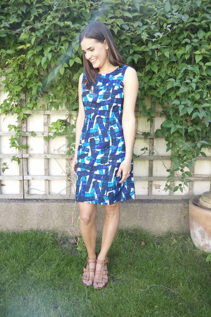 JABA JABA Nicole Dress - Falling Blocks - Blue/White