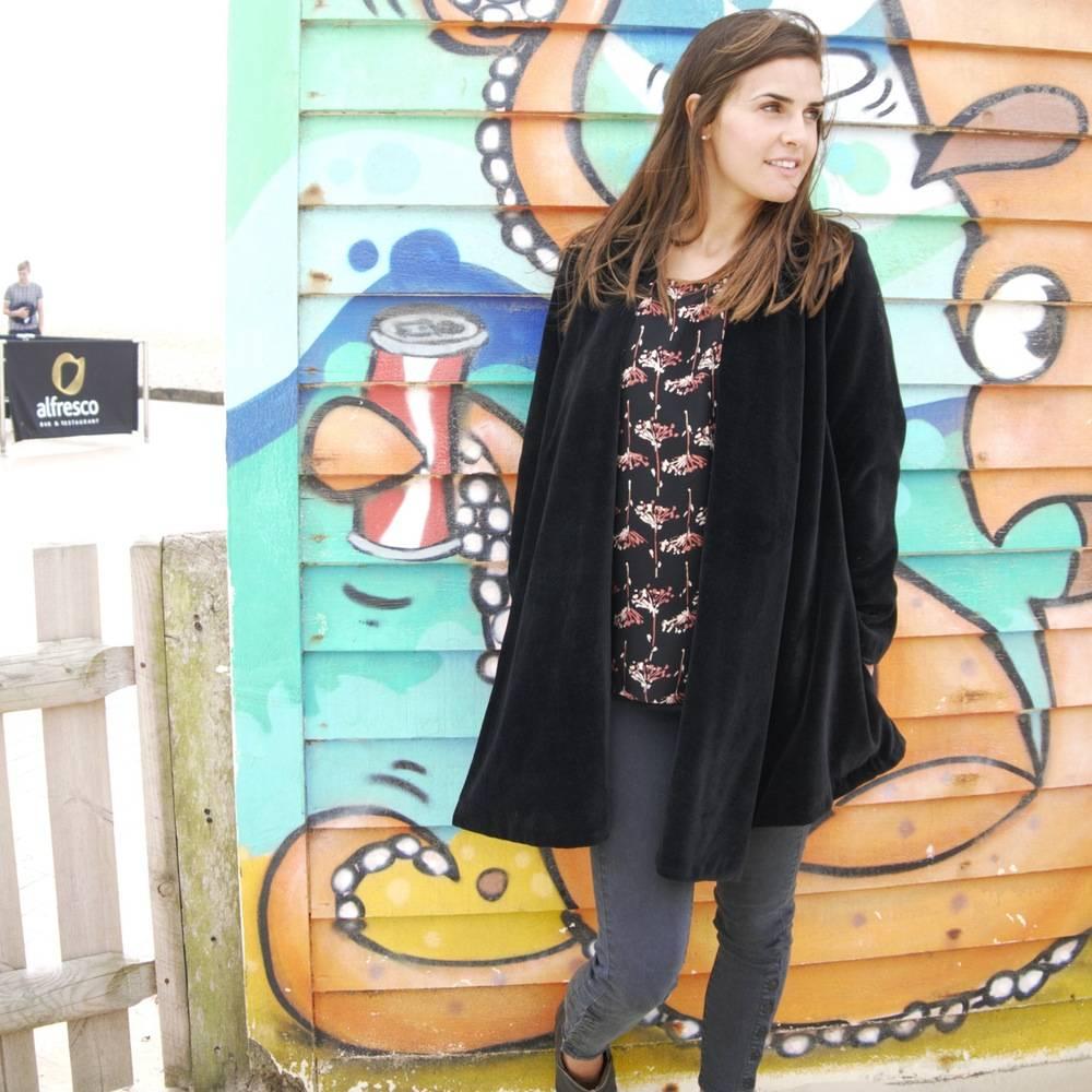 JABA Jaba Velvet Loose Jacket in Black