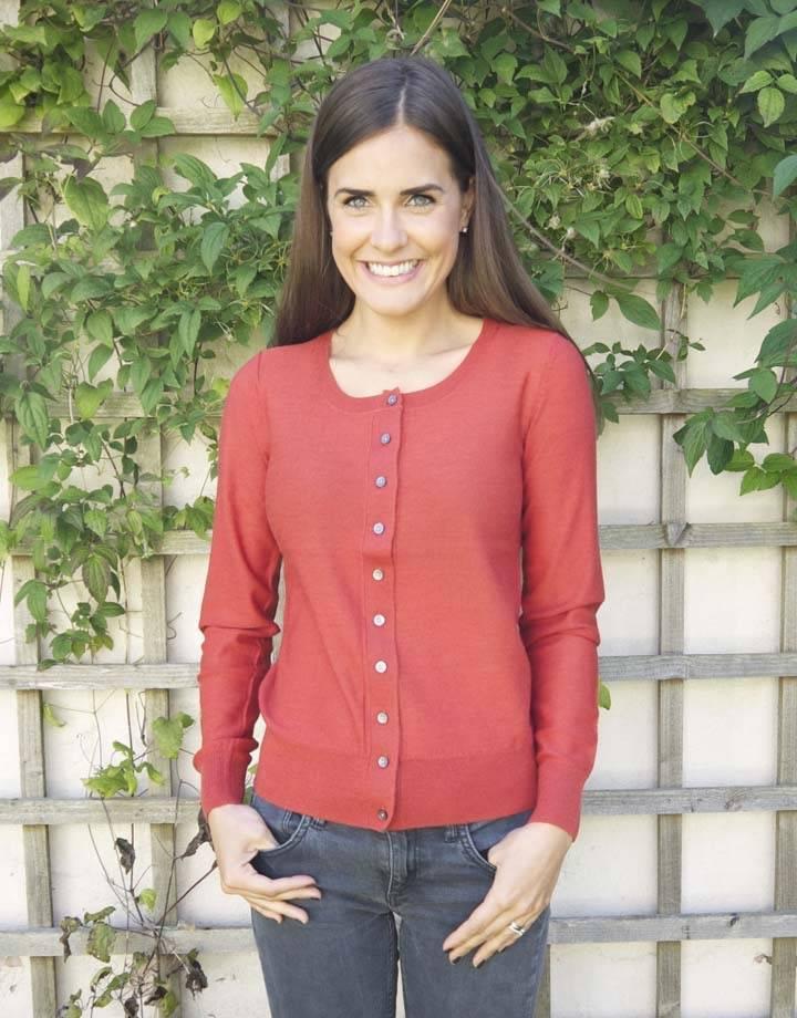 JABA Jaba Pure Wool Cardigan in Rust