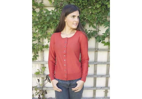 JABA Jaba Pure Wool Cardigan in Rust