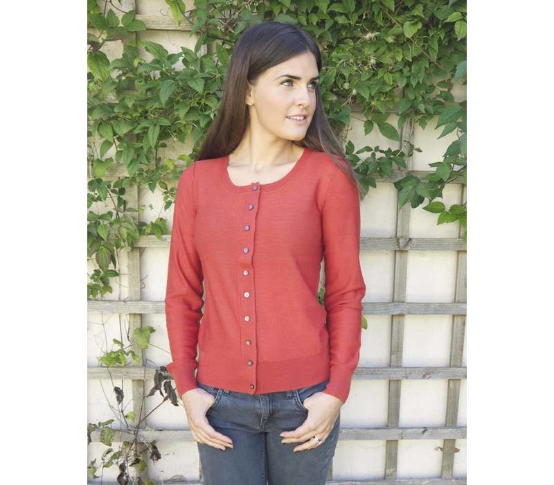 Jaba Pure Wool Cardigan in Rust