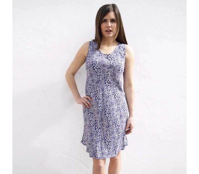 JABA Izzy Dress in Blue Leopard