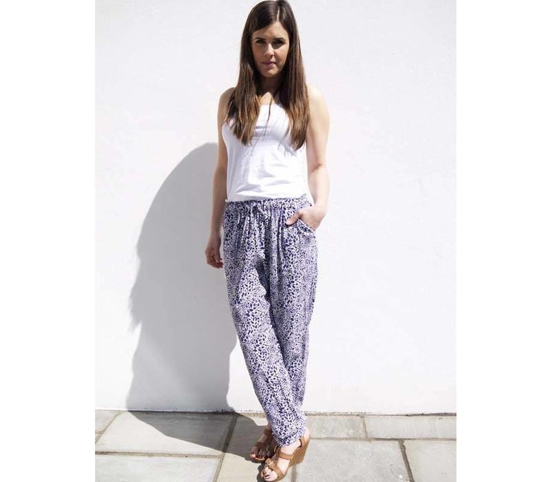 JABA Ellie Trousers in Blue Leopard
