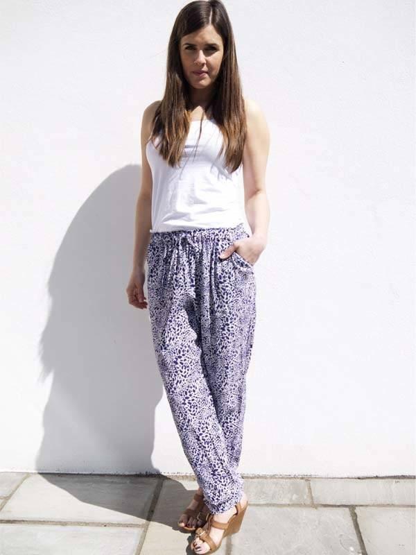 JABA JABA Ellie Trousers in Blue Leopard