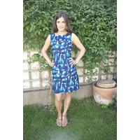 JABA Nicole Dress - Falling Blocks - Blue/White