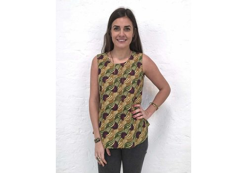 JABA JABA Zoe Top in Vintage Wave Green