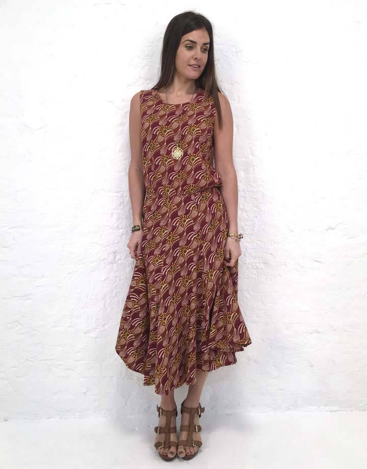 JABA JABA Florence Skirt in Vintage Wave Rust