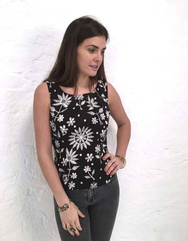 JABA JABA Leila Top in Embroidered Print