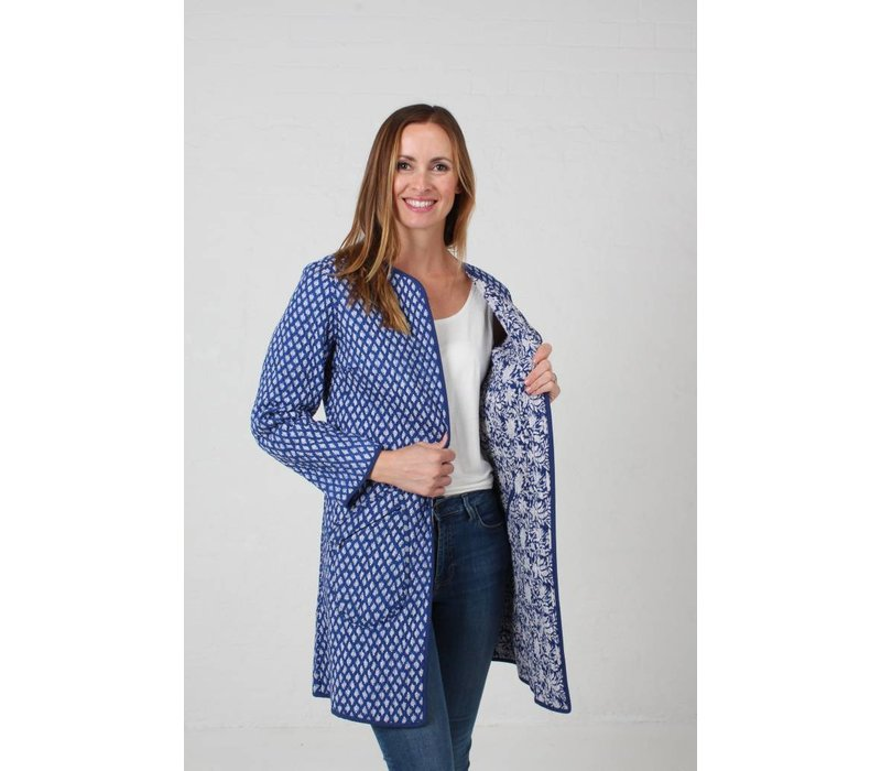 JABA Reversible Coat in Coastal Blue