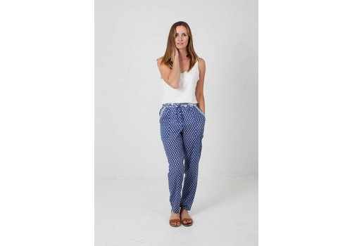 JABA JABA Ellie Trousers in Leaf Block Blue
