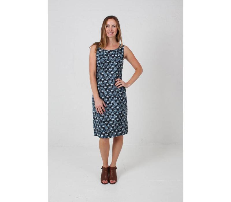 JABA Emily Dress Long in Retro Block Grey