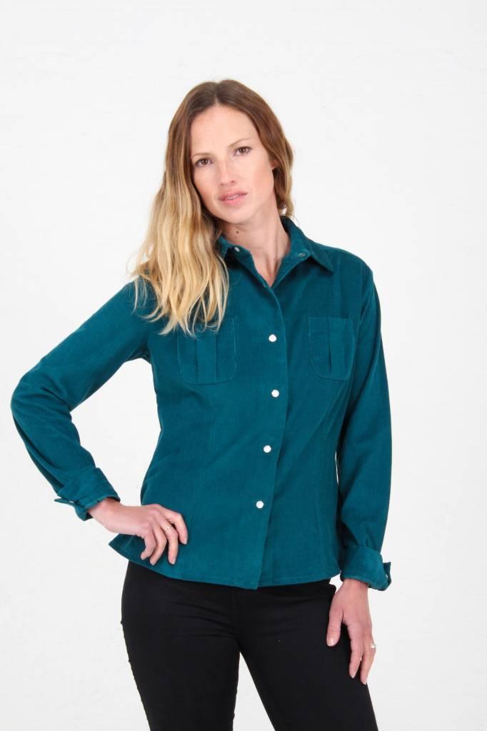 JABA Jaba Leonie Shirt in Teal PinCord
