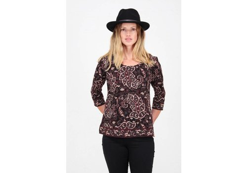 JABA Jaba 3/4 Sleeved Top in Black Paisley