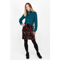 Jaba Velvet Skirt in Birds of Paradise Print