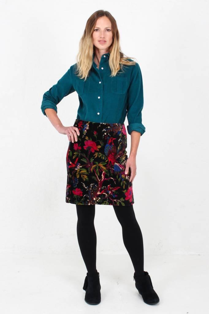 JABA Jaba Velvet Skirt in Birds of Paradise Print