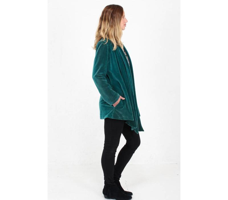 Jaba Teal Velvet Loose Jacket