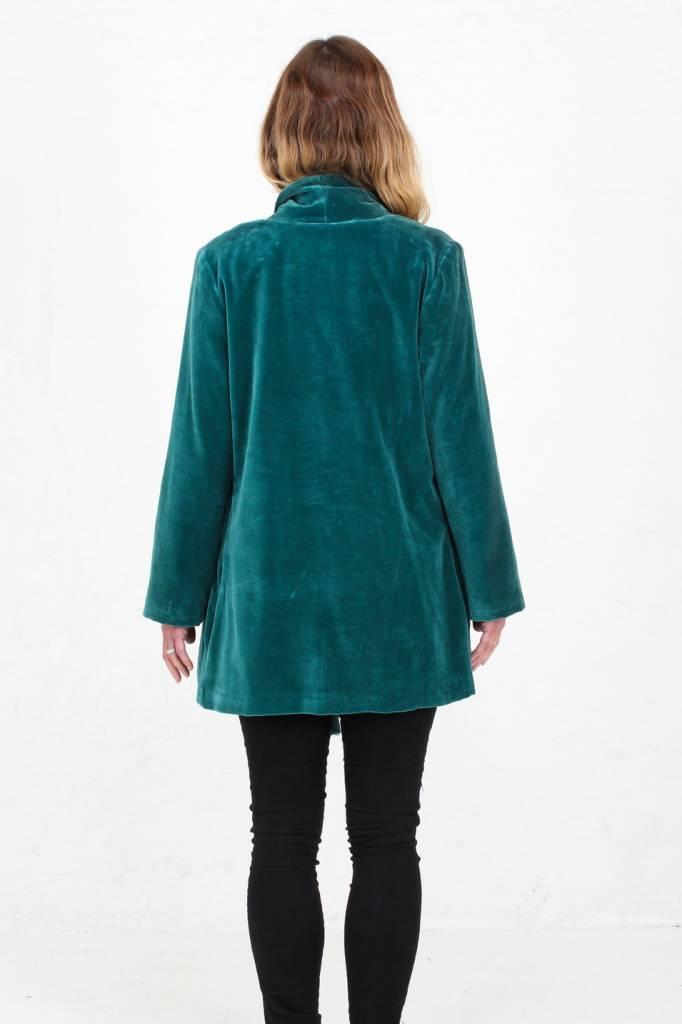 JABA Jaba Teal Velvet Loose Jacket