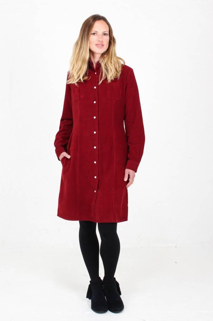 JABA Jaba Leonie Shirt Dress in PinCord Red