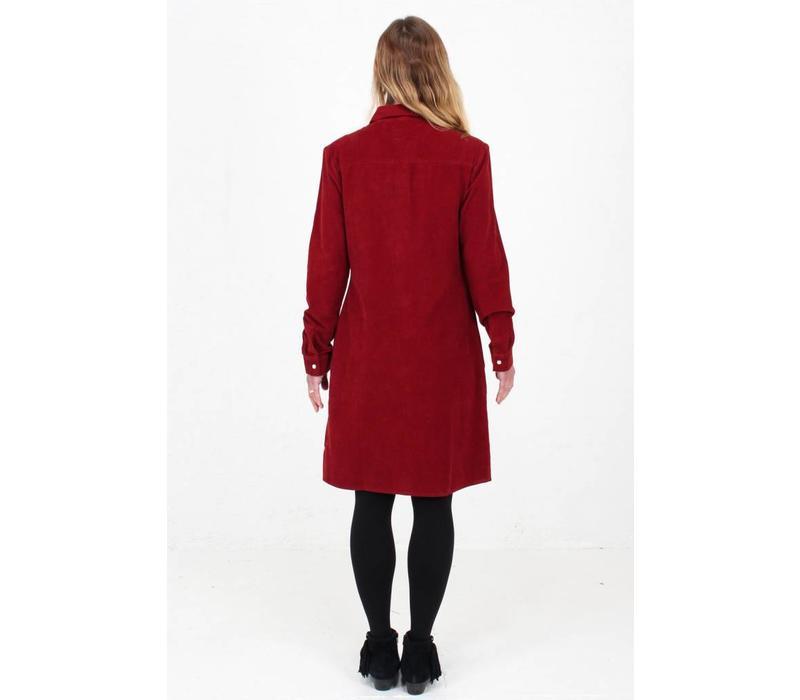 Jaba Leonie Shirt Dress in PinCord Red