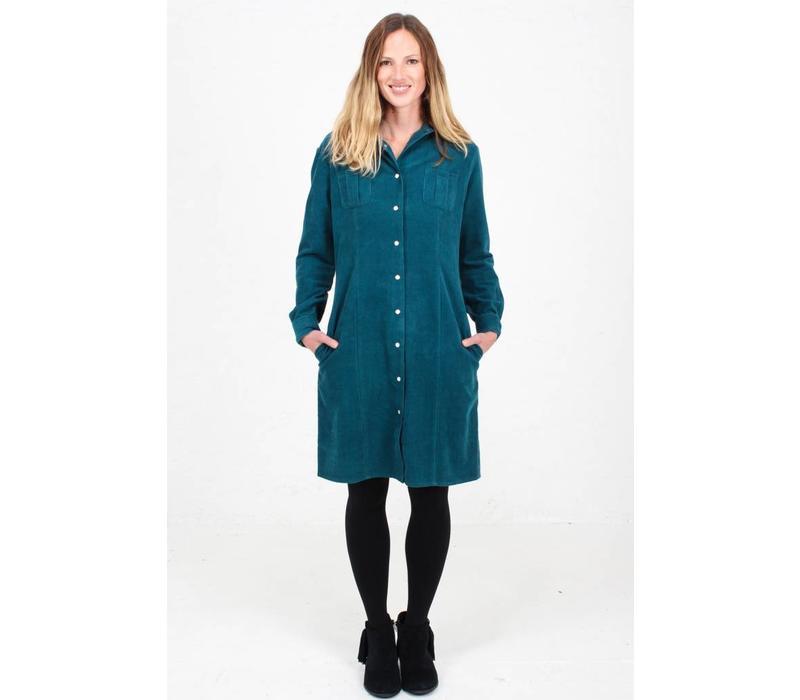 Jaba Leonie Shirt Dress in PinCord Teal