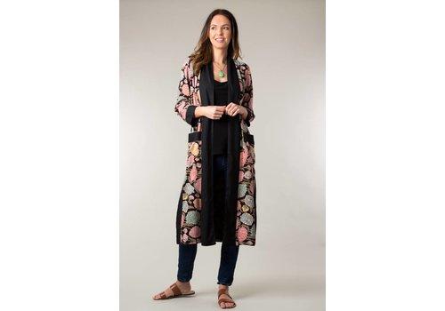 JABA Jaba Long Kimono in Hydrangea Black