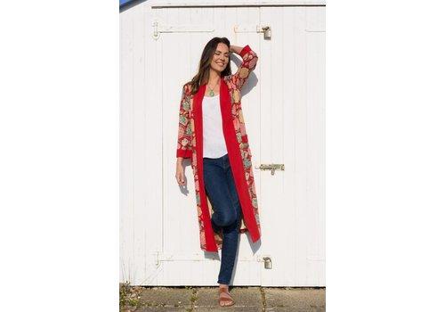 JABA Jaba Long Kimono in Hydrangea Red