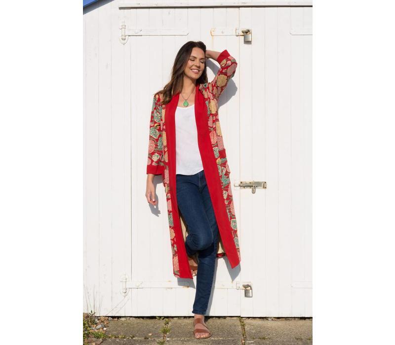 Jaba Long Kimono in Hydrangea Red