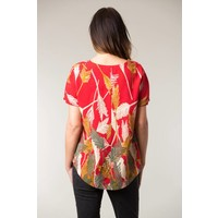 Jaba Edie T-Shirt in Palm Red Print