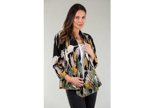 JABA Jaba Kimono Jacket in Black Palm