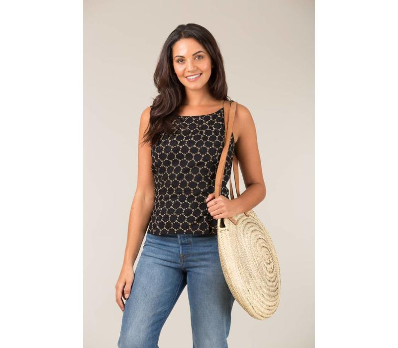Jaba Leila Top in Black Honeycomb
