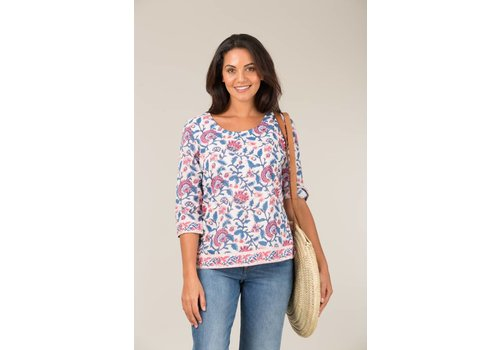 JABA Jaba 3/4 Sleeve Top in Pink Block