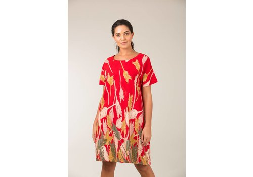 JABA Jaba Etta Dress in Palm Red