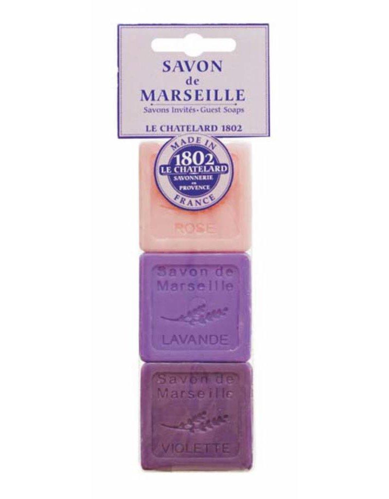 Le Chatelard 1802 Set van 3 zeepjes Roos + Lavendel + Violette (Viooltje) 3x30g