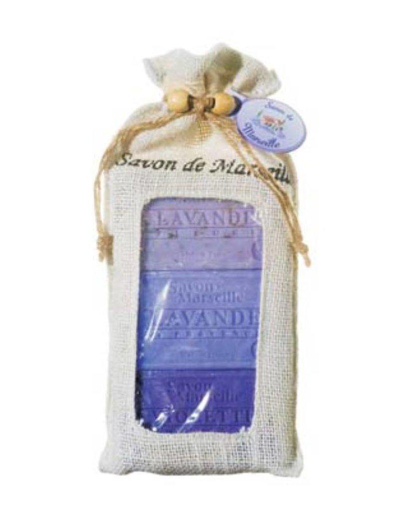 Le Chatelard 1802 Set van 3 zepen Lavendelbloemen + Lavendel + Violette (Viooltje) 3x100g