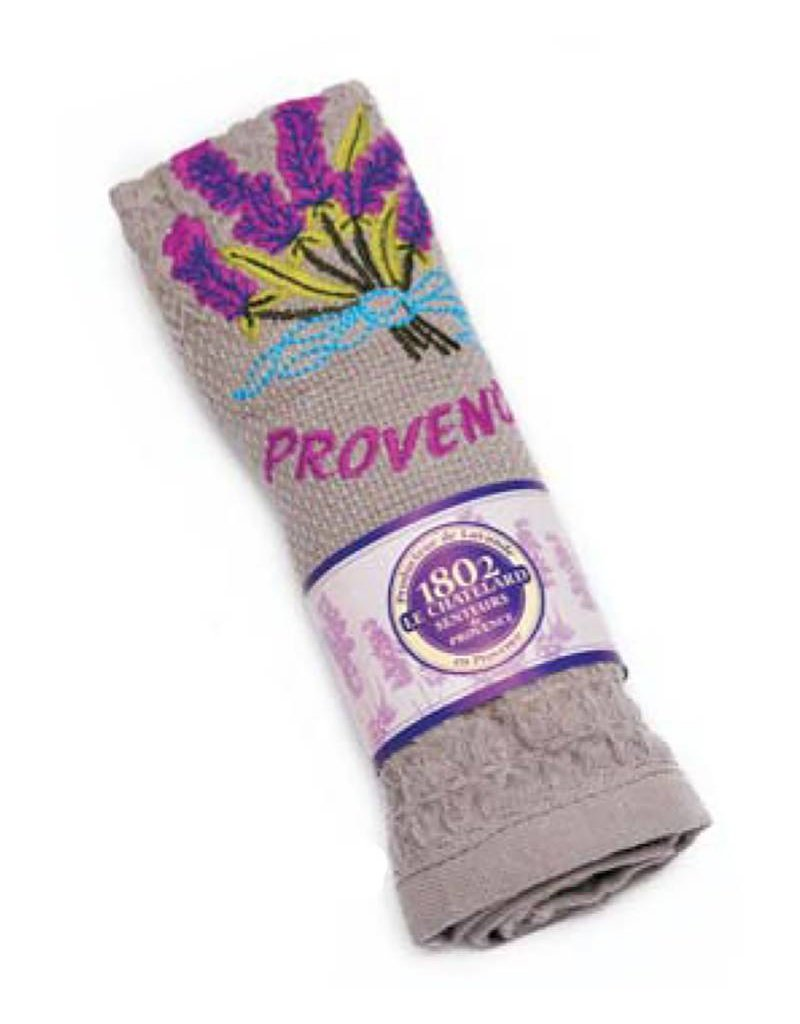 "Le Chatelard 1802 Handdoek geborduurd ""Provence"" grijs 40x60cm"