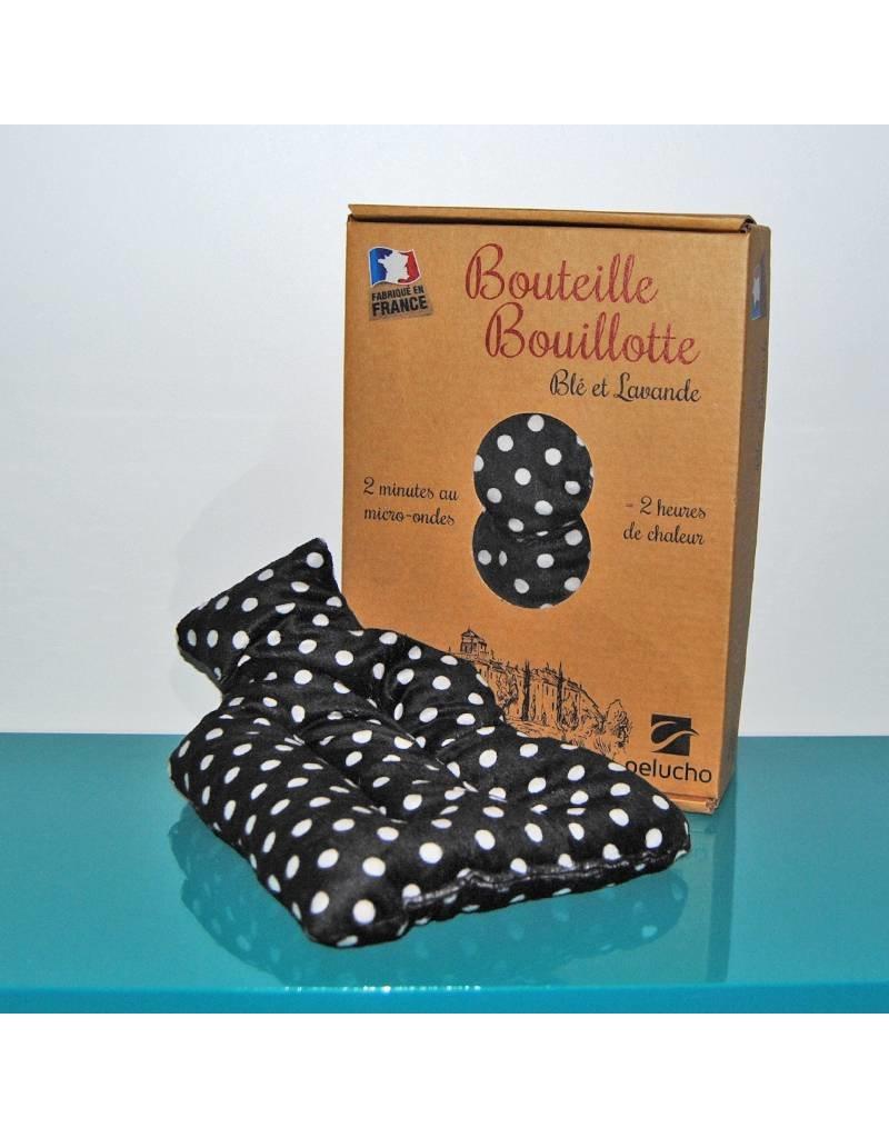 Pelucho Lavendel warmtekussentje kruik - zwart met stippen