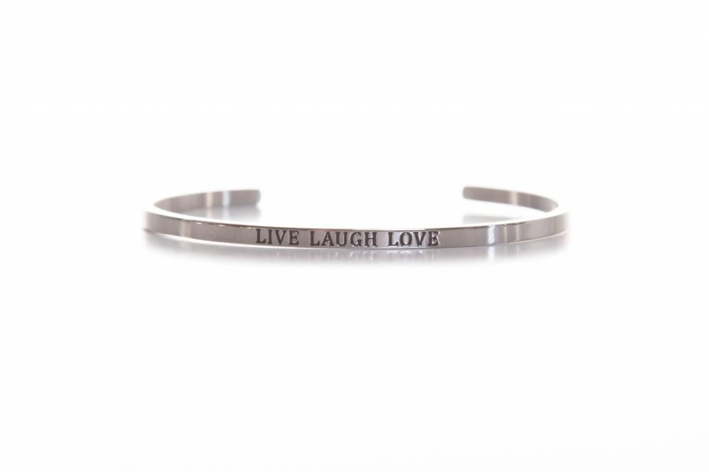 """LIVE LOVE LAUGH"" - Armreifen silber"