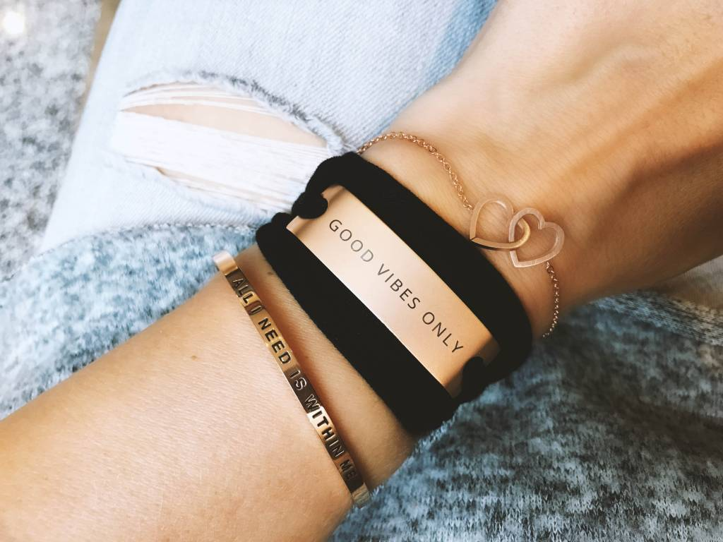 """ALL I NEED IS WITHIN ME "" Bangle -ROSEGOLDEN"