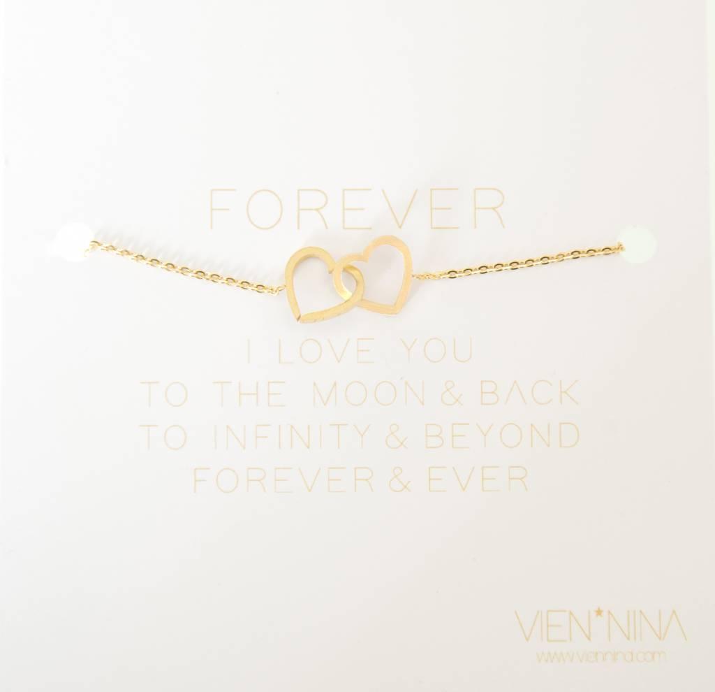 """FOREVER """"HEARTS"""" - bracelet golden"""