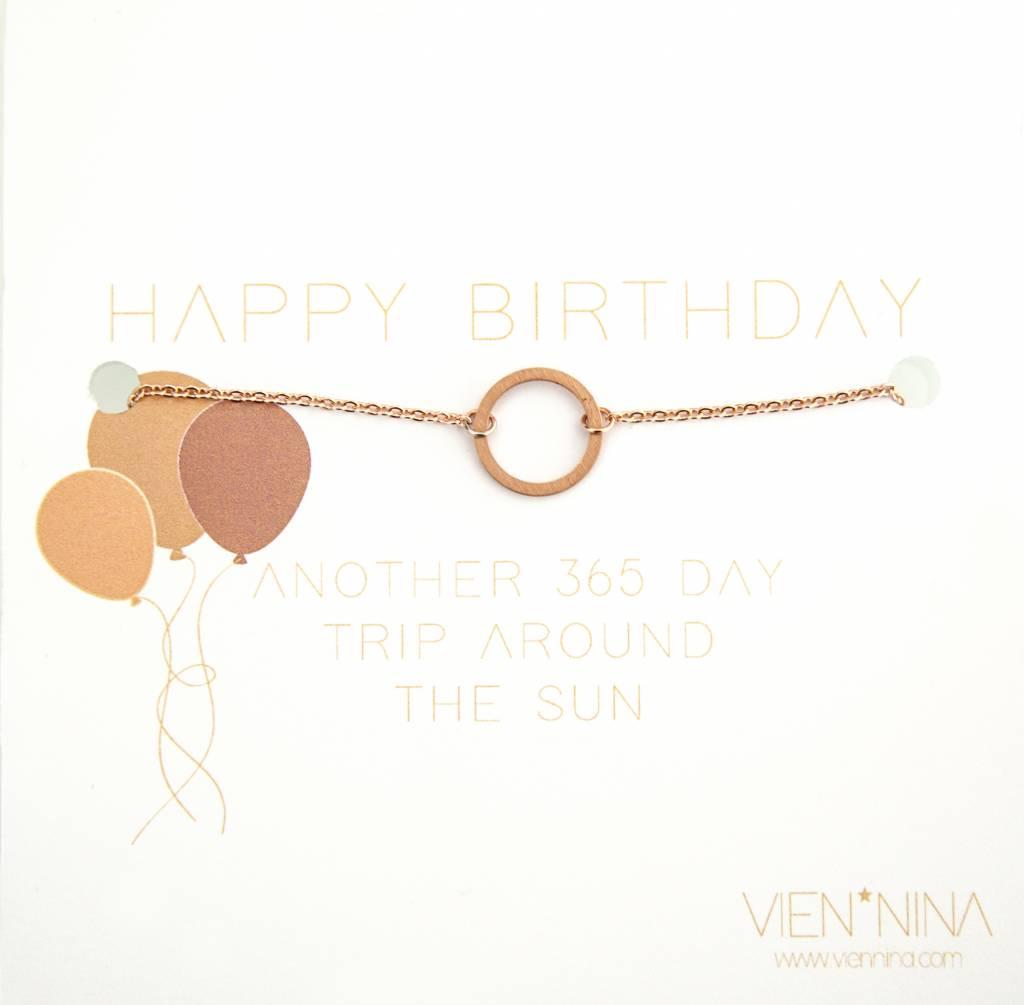 "HAPPY BIRTHDAY ""CIRCLE"" - Armkettchen /  Rose"