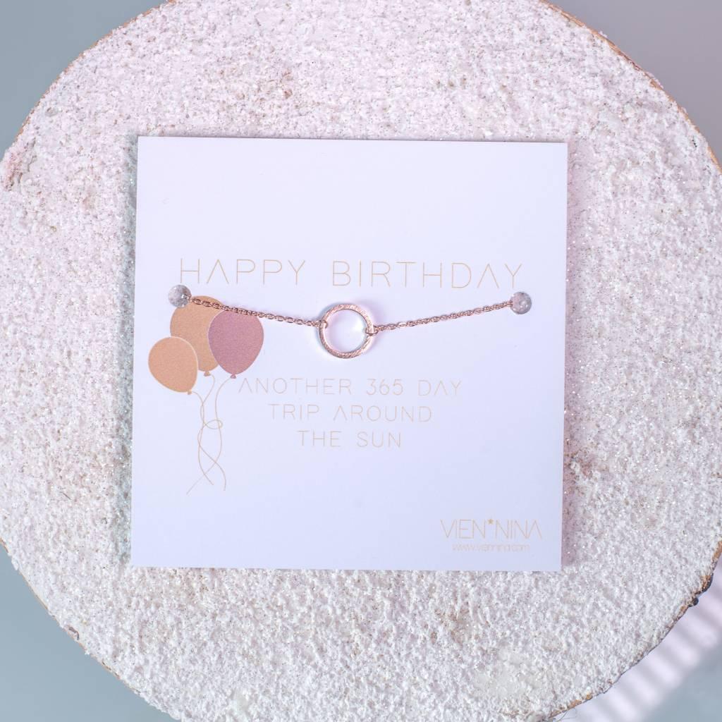 "HAPPY B-DAY ""CIRCLE"" Armkettchen rosegold"