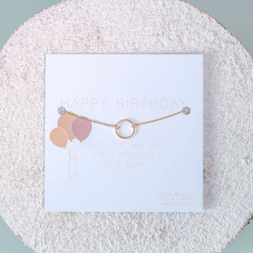"HAPPY B-DAY ""CIRCLE"" Armkettchen gold"