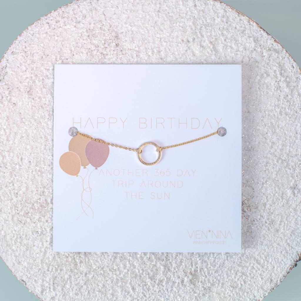 "HAPPY BIRTHDAY ""CIRCLE"" - Armkettchen / Gold"