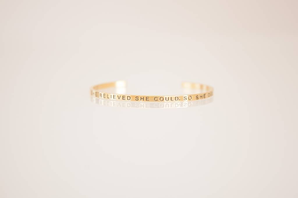 """SHE BELIEVED SHE COULD • SO SHE DID"" Bangle - GOLDEN"